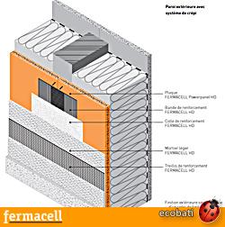 Fermacell paroi extérieure avec bande de renforcement HD et ensuite systéme de crépis